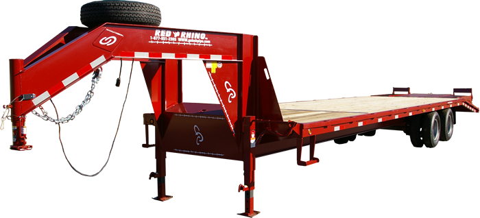 Red Rhino 33 foot, 10K with six foot ramps, pop-up center, LED lights and spare tire mounted.