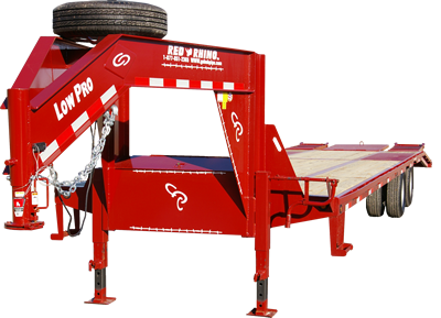 Red Rhino 32 foot, 10K Low Pro with five foot ramps, pop-up center, LED lights and spare tire mounted.